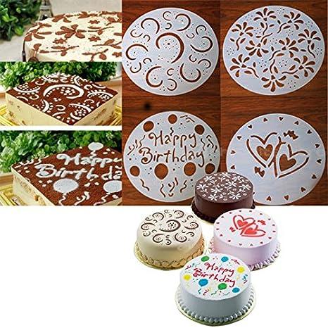 4 x Plantillas para Tarta Pastel Molde Flor Corazón Cumpleaños arte Fondant 20cm: Amazon.es: Hogar