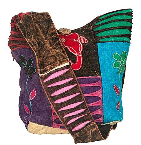Colorful Red Shoulder Cotton Roomy Bag Blue Casual Women Crossbody Messenger Bohoemian Comfortable Hobo AOxwnAdBq5