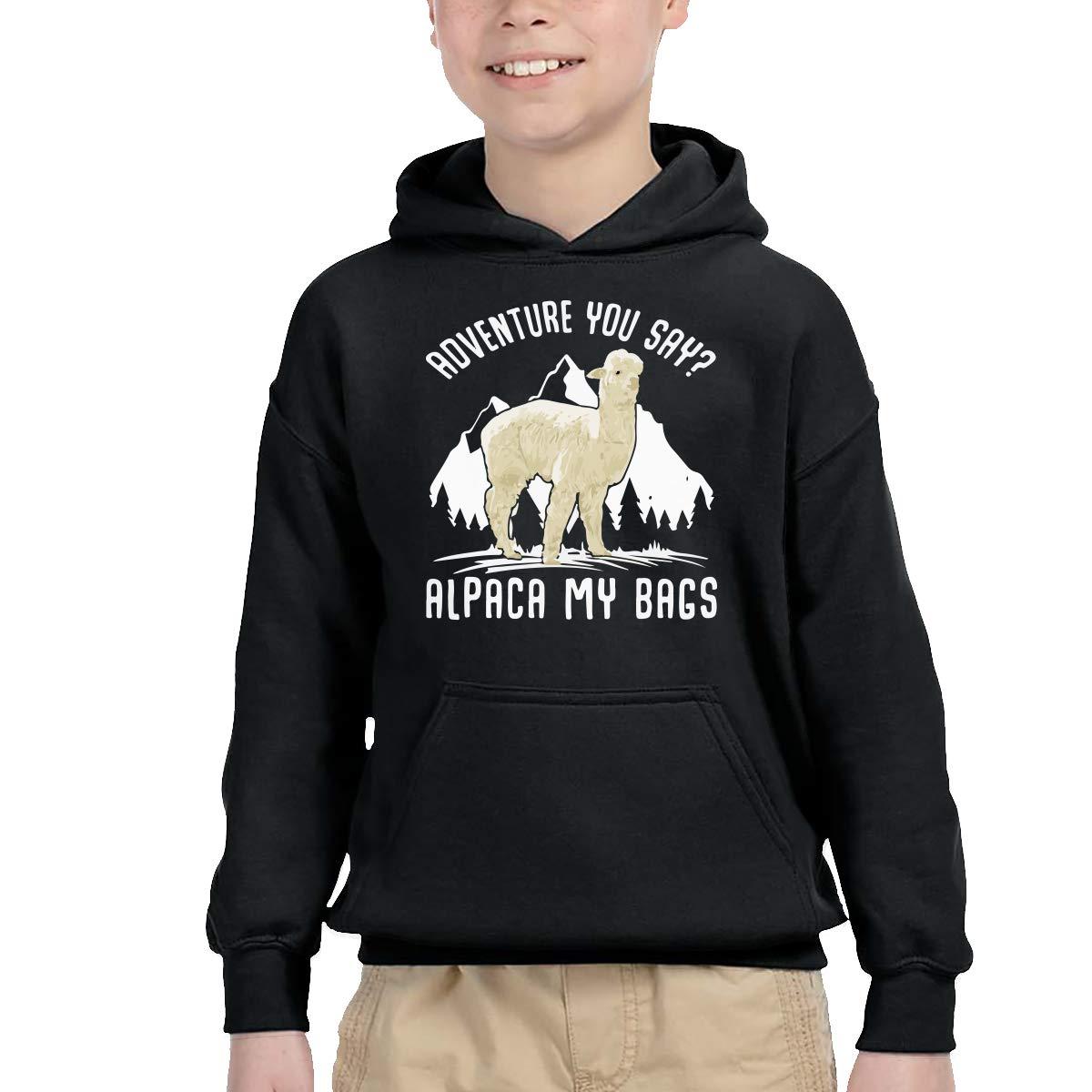 YTH/&123 Toddler Kids Baby Pullover Hoodie Fleece Adventure Alpaca My Bags Hoody
