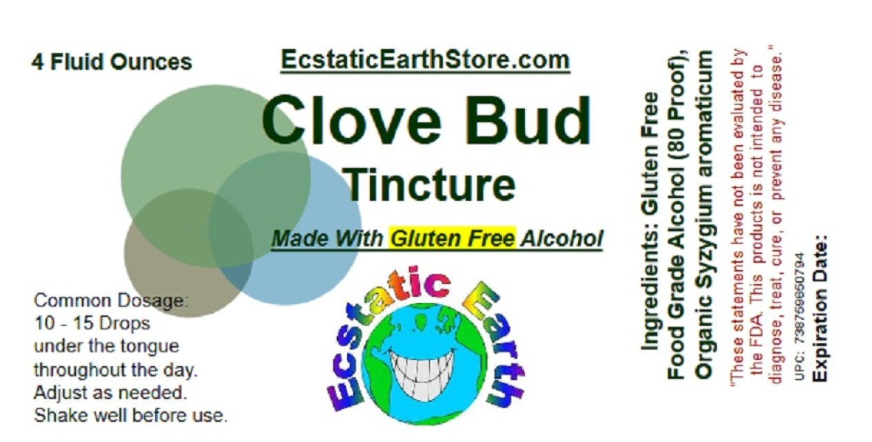 Clove Tincture ~ Made with Gluten Free Alcohol and Organic Cloves ~ 4 Ounce Bottle