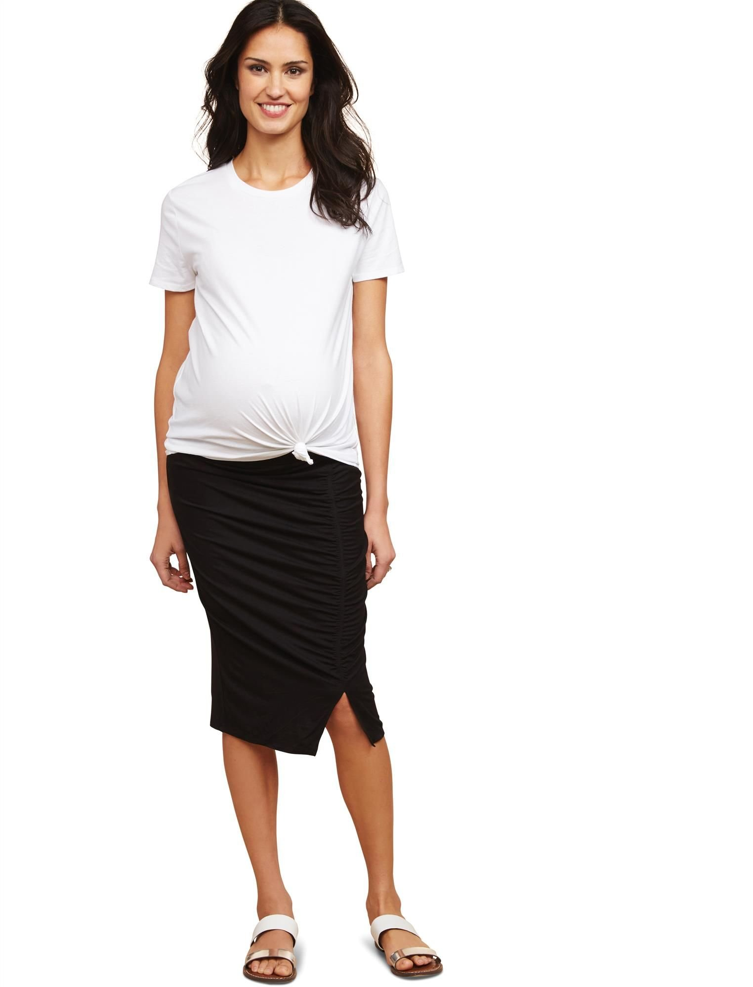 Motherhood Under Belly Pencil Fit Maternity Skirt