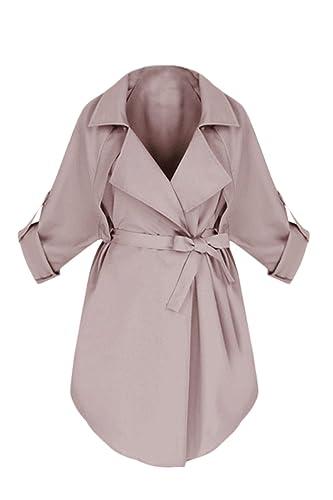 La Mujer Solida Elegante Solapa Enrollado Túnica Con Cinturón Trenchcoats Outwear