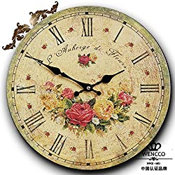 12 Retro Vintage Roman Numerals Design Sweet Yellow and Red Rose Garden French Country Tuscan Style Non-Ticking Silent Wooden Wall Clock Art Decoration