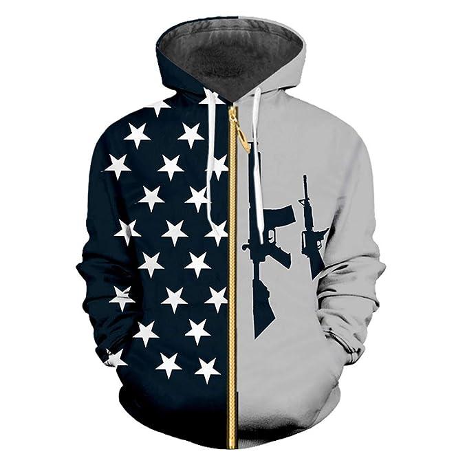 Zipper Hombres 3D Imprimir Bandera Americana y Pistola ...