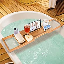 HiCollie Craft Natural Bamboo Bathtub Caddy /Bath Tub Tray Organizer with Adjustable Sides Expand to 43 Stainless Steel Book Holder Acrylic Dam-board Phone Slots Glass Holder by Hicollie