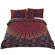 Sleepwish 4 Pcs Mandala Hippie Concealed Bedspread Bohemian Bedding Duvet Cover Set King Size
