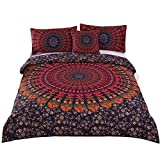 Sleepwish 4 Pcs Mandala Hippie Concealed Bedspread Bohemian Bedding Duvet Cover Set Queen Size