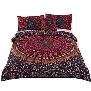 Sleepwish 4 Pcs Mandala Hippie Concealed Bedspread Bohemian Bedding Duvet Cover Set Cal-King Size