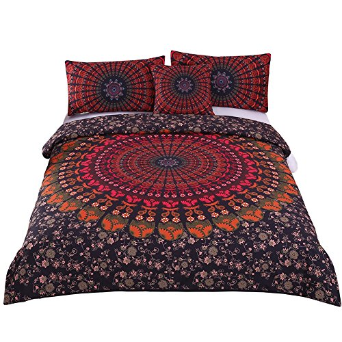 Sleepwish 4 Pcs Bohemian Girls Bedding Mandala Hippie Duvet Cover Concealed Bedspread Chic Bed Set -