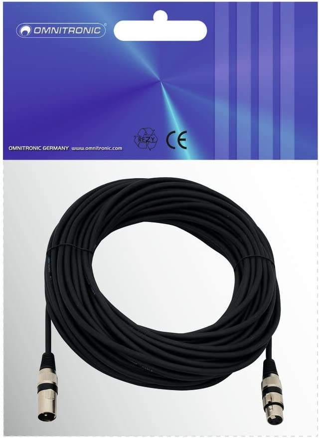 XLR Bilanciato Nero 30 Mt F Omnitronic 30220595 M Cavo Audio XLR Spessore Guaina 0.22mm/²