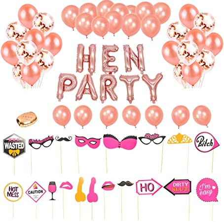 HEN PARTY ROSE GOLD BALLOON BUNTING Hen Night Air Filled Balloons Elegant Hen