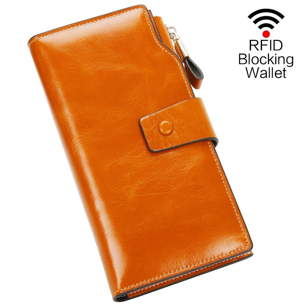 Carteras Mujer Piel Monederos de Mujer Fashion Gran Capacidad RFID Bloqueador Billeteras