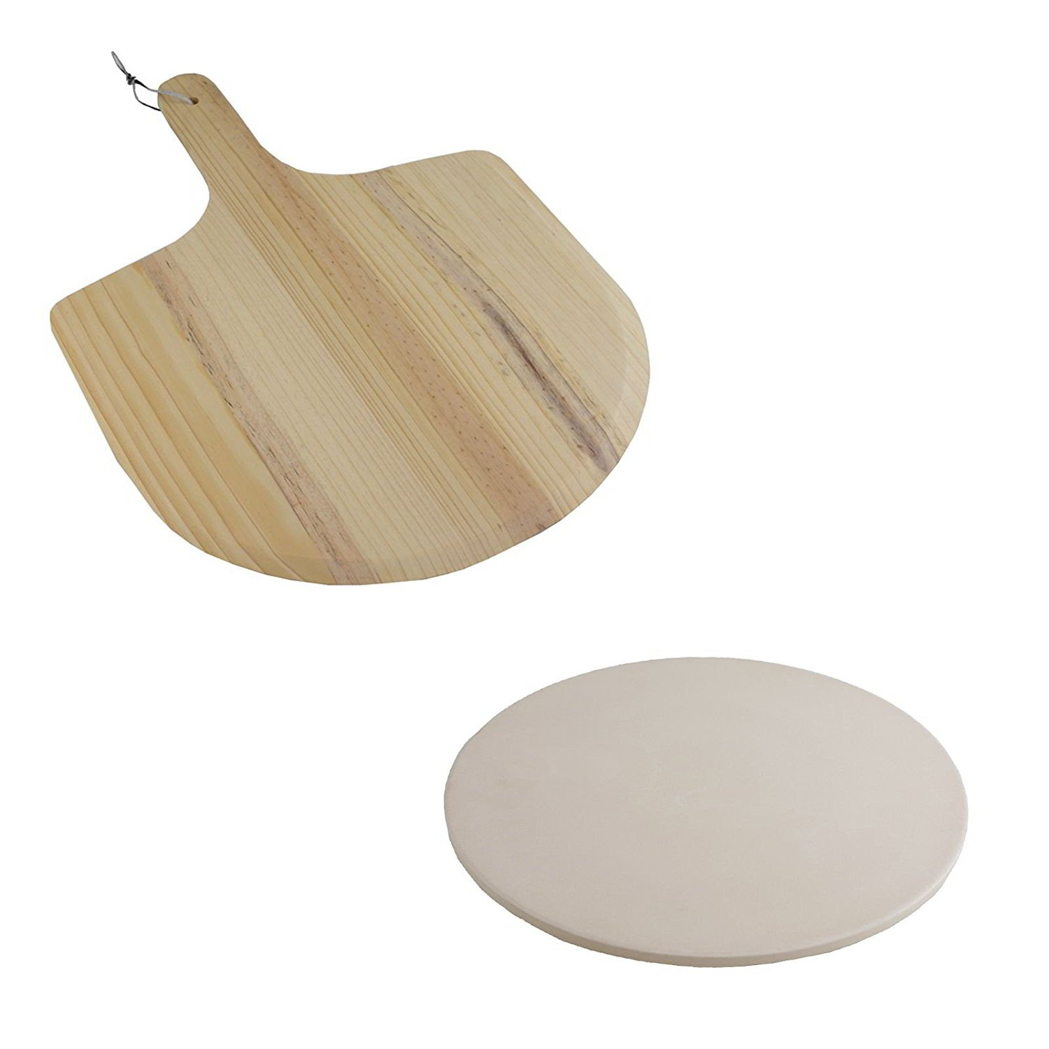 Pizza Baking Stone Set Cooking Plate Serving Tray & Wooden Paddle Peel Shovel snijplanken