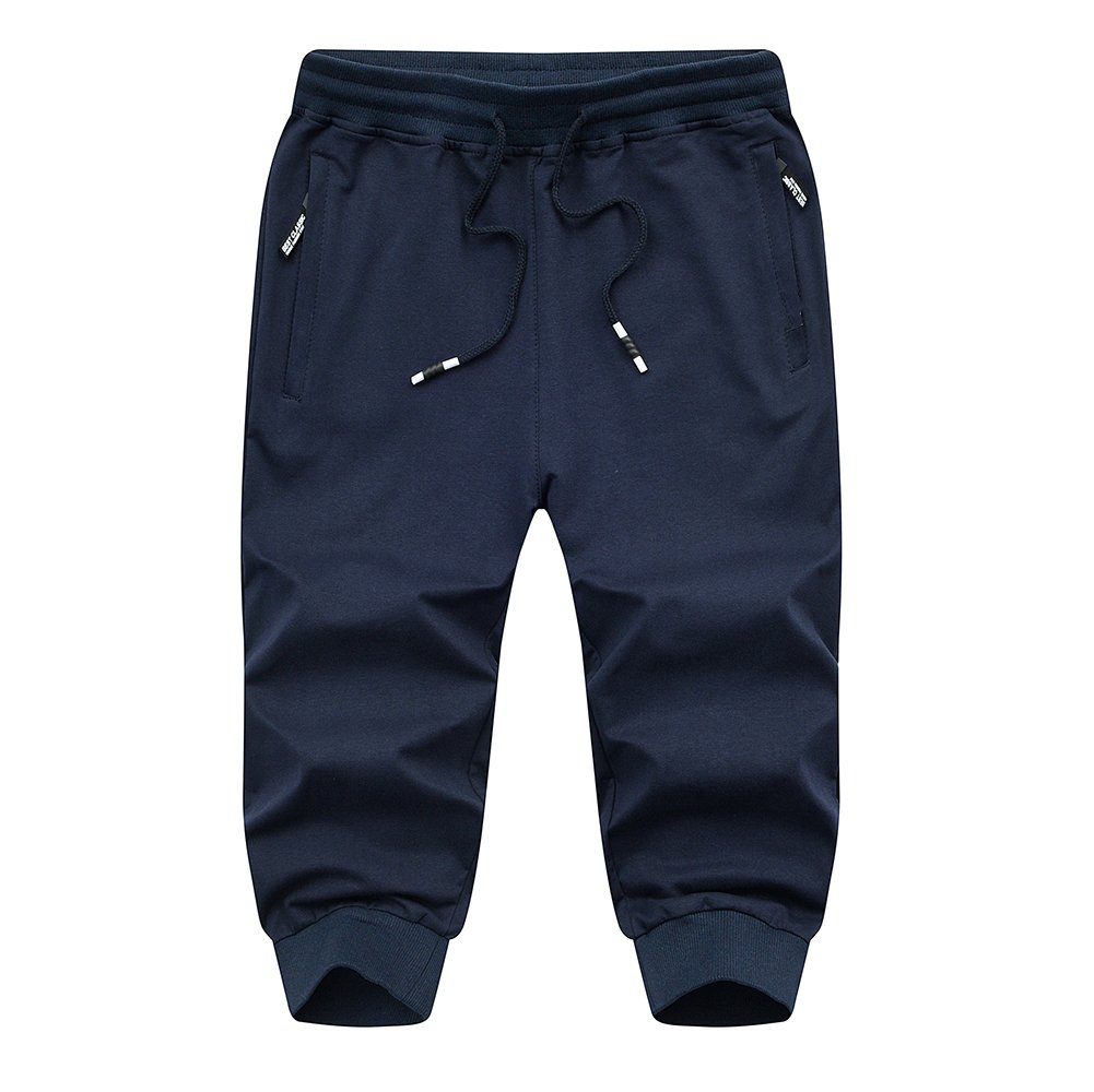 FASKUNOIE Mens Three-Quarter Capri Pants 3//4 Workout Cotton Jogger Short Pants with Zipper Pockets
