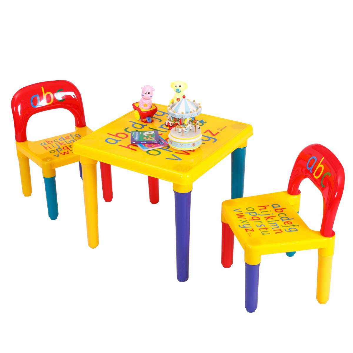 Costzon Kids Table and 2 Chairs Set, Alphabetic Letter Table Furniture for Toddlers, Education Learning Activity Table Desk Sets FWAM-01748