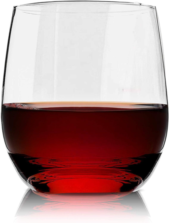 Vivocci Unbreakable Plastic Stemless Wine Glasses 12. 5 oz | 100% Tritan Heavy Base | Shatterproof Glassware | Ideal For Cocktails & Scotch | Perfect For Homes & Bars | Dishwasher Safe | Set of 6