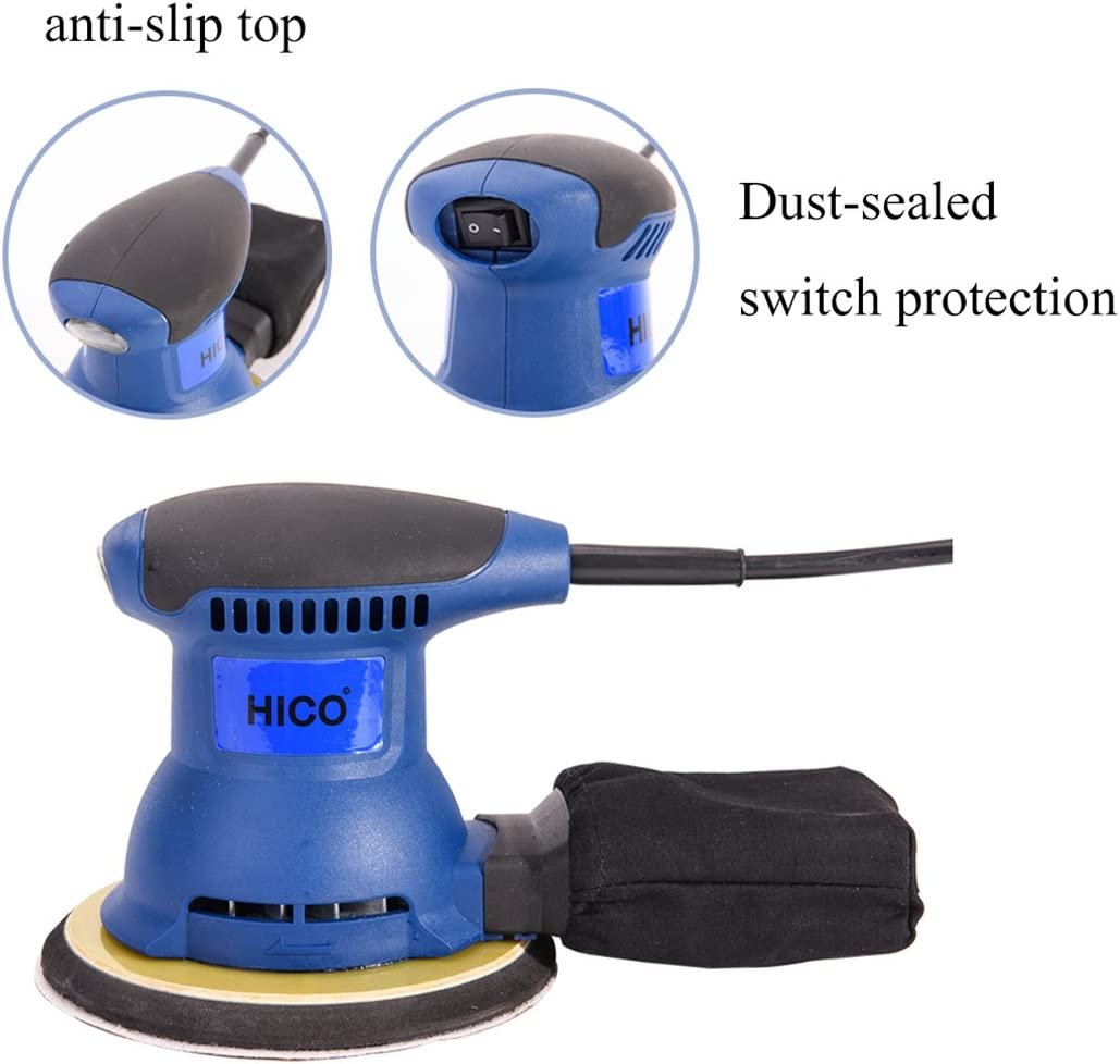 HICO HET205A 6-Inch Electric Orbit Sander Random Handheld Drywall with Palm S...