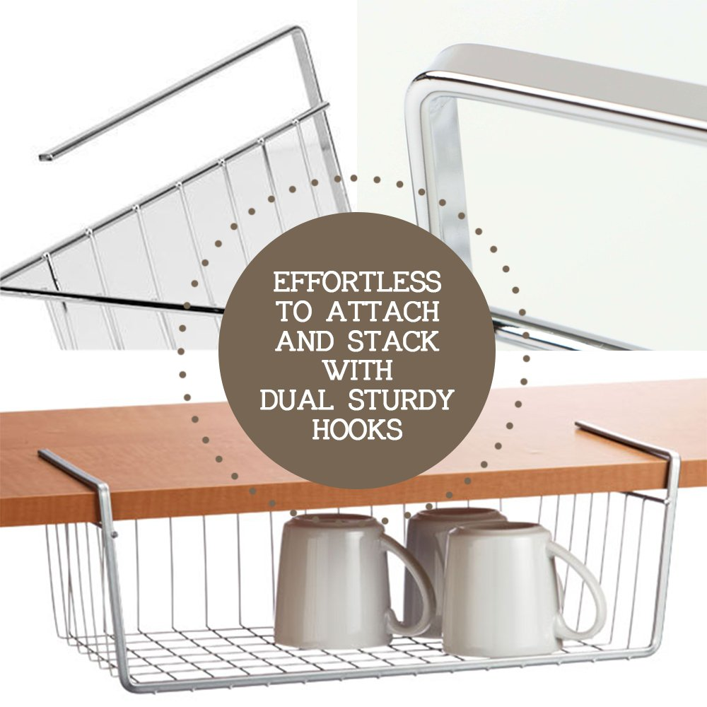 Smart Under Shelf Basket Storage /™ ★ Space Saver ★ Very Sturdy ★ Rustproof★ Additional Storage on Cabinet ★Lightweight ★ Perfectly Fit in Any Cabinet ★ Bookshelf ★ Keep Your Stuff Organize 600