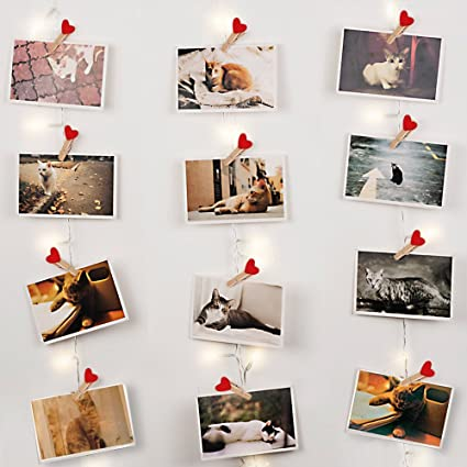 Veesee 30 Led Wooden Photo Clip String Lights,DIY Pictures Holder Display  USB Powered String