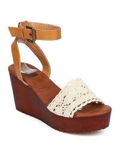 11fcc6d0173 Women Mix Media Peep Toe Crochet Wooden Wedge Sandal EB13 - Beige (Size  8.0