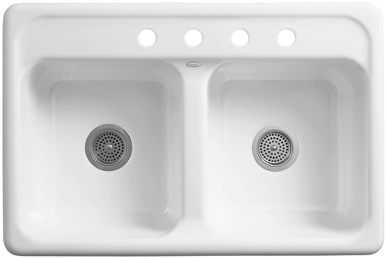 White Enamel Kitchen Sinks Kohler K 5817 4 0 Delafield Self Rimming Kitchen Sink White