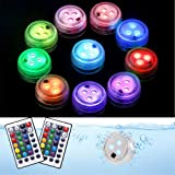 BizoeRade 10pcs Submersible Lights, Waterproof Submersible LED Lights with Remote, 16 Colors 4 Modes Pond Lights, Battery Ope