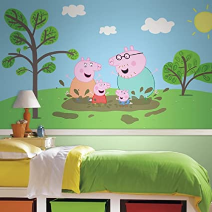 Amazoncom Peppa Pig Xl Chair Rail Prepasted Mural Wallpaper Mural