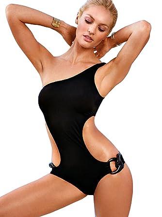 costume da bagno per donna intero colore nero monospalla taglie a scelta s