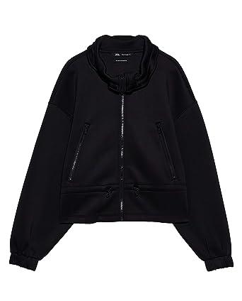 Zara 2712/202/800 - Chaqueta de Goma sintética para Mujer - Negro ...