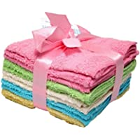 BEST PRODUCT Deluxe 100% Cotton WASHCLOTHS, Machine Washable Cleaning Rags, Wash Cloths for Bathroom, Colors May Vary - 10 Pack
