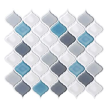 Peel and Stick Wall Tile for Kitchen Backsplash-Mist White Arabesque Tile Backsplash-Kitchen Backsplash Tiles Peel and Stick Wall Stickers,6 Sheets