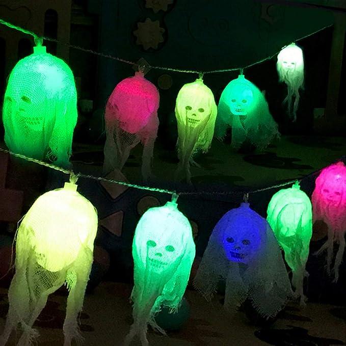 Queta Halloween Luce Decorativa, Lights Decorazione 10 LED Luce Scheletro Cranio Horror Atmosfera Luce per Bar, Feste, Centro Commerciale, Layout della Scena (Batteria Non Inclusa)