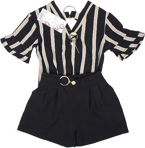 Conjunto de pantalones de camisa de niña, 2 piezas/juego Primavera verano, tira, manga corta, cuello en V, camisa y pantalones para niñas de 0-24 meses(100-Negro): Amazon.es: Bebé