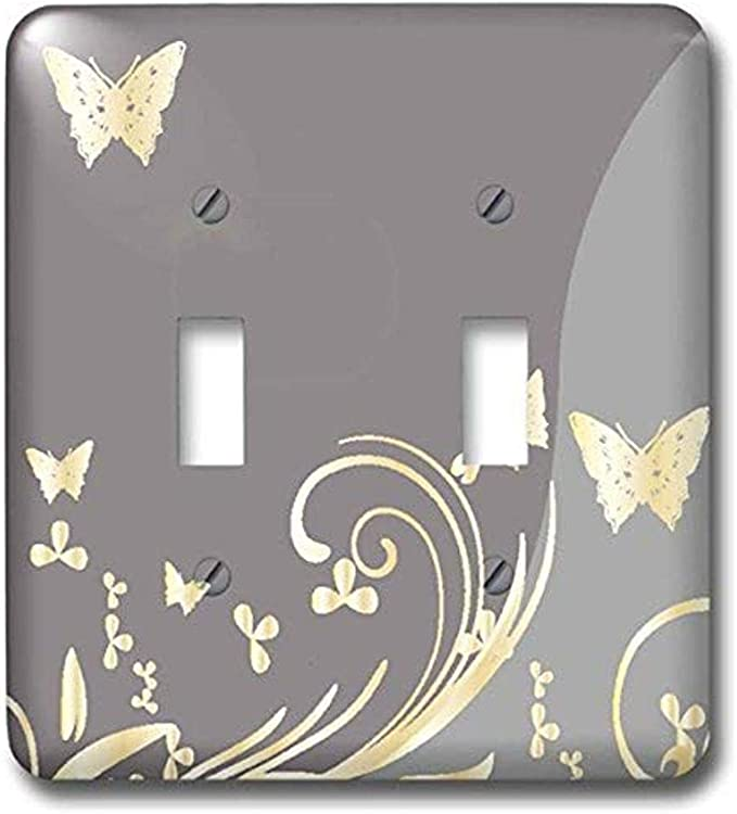 3drose Lsp 217993 2 Gold Butterflies And Flourishes On A Two Tone Light Gray Background Double Toggle Switch Multicolor Amazon Com