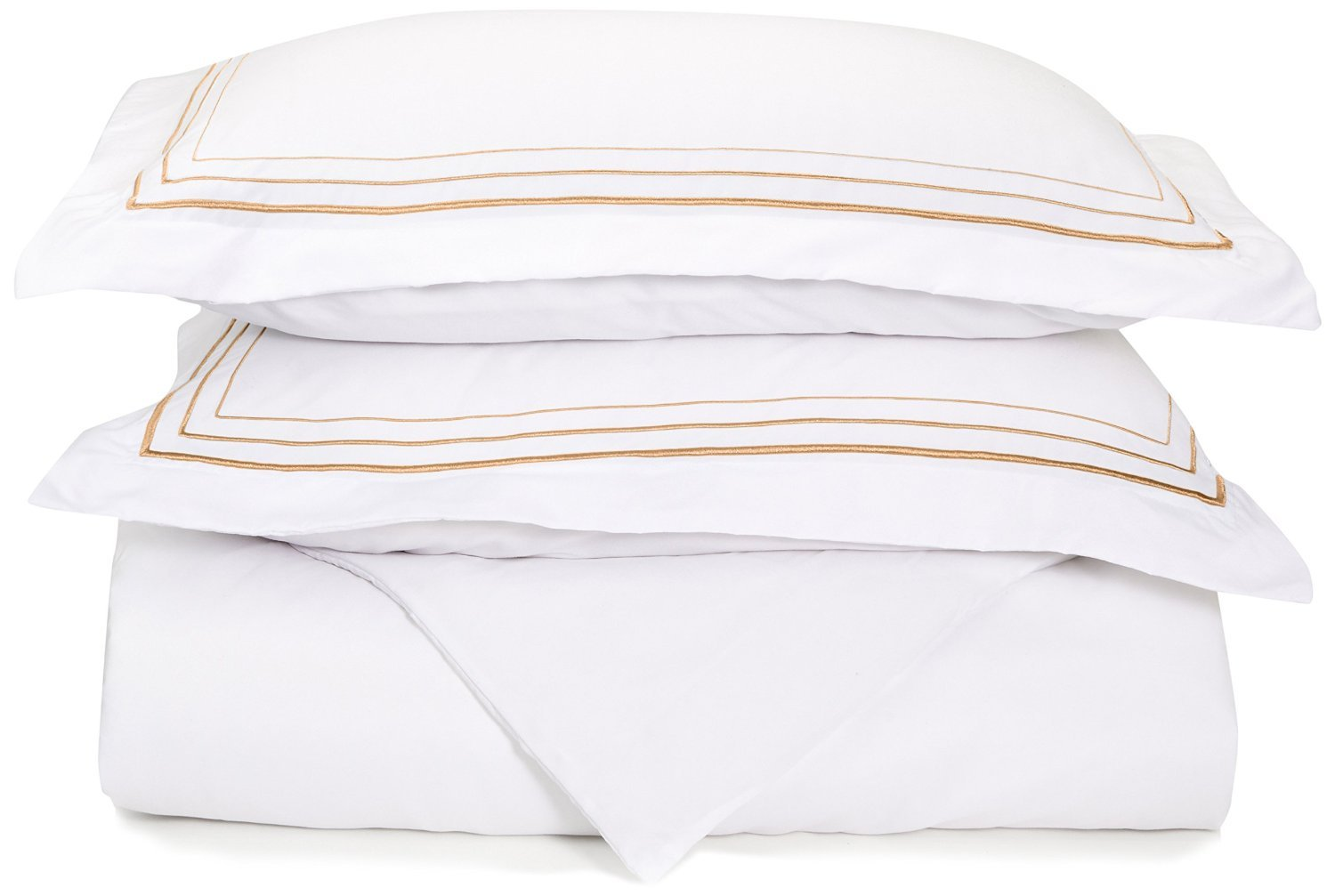 Super Soft Light Weight, 100% Brushed Microfiber, King/California King, Wrinkle Resistant, White Duvet Cover with Gold 3-Line Embroidered Pillowshams in Gift Box