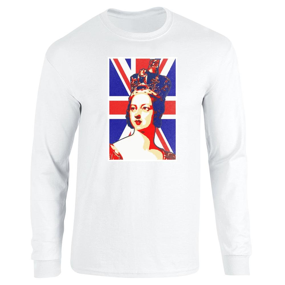 Pop Threads Queen Victoria Union Jack Pop Art Long Sleeve T-Shirt by:  Amazon.co.uk: Clothing