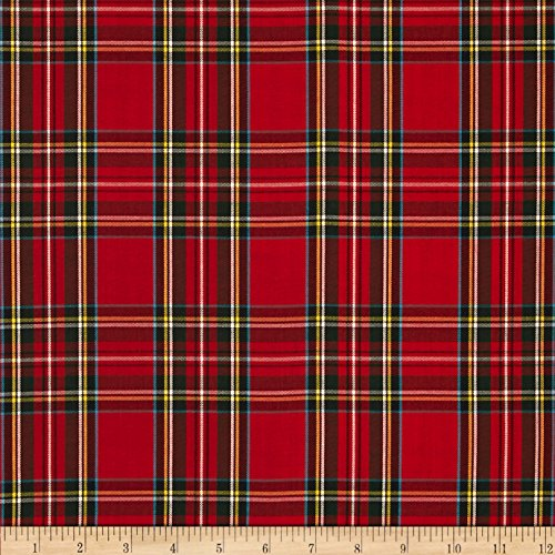 Robert Kaufman Kaufman House of Wales Lawn Plaid Red Fabric by The Yard,