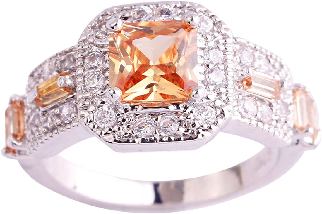 Psiroy 925 Sterling Silver Created White Topaz Filled Princess Cut Halo Wedding Ring for Women