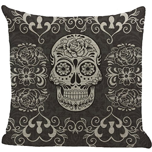Decorative-18-x-18-Inch-Cotton-Blend-Linen-Throw-Pillow-Cover-Cushion-Case-Black-Skull-Bonehead-New-Arrival