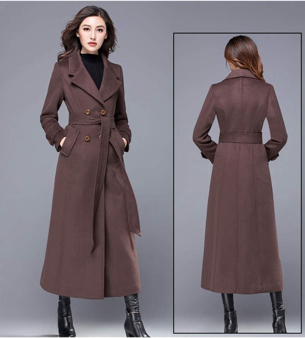 GUOYANGPAI Cappotti Cappotto Donna Cappotto Invernale Cappotto Caldo Spesso Capispalla Capispalla Doppio Petto Moda Donna Giacche con Cintura Marrone