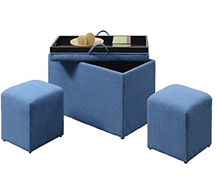 Super Amazon Com Gt Storage Ottoman Bench Set Soft Blue Fabric Gmtry Best Dining Table And Chair Ideas Images Gmtryco
