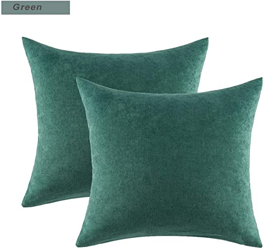 YUNJING Fundas para cojines Cojín de algodón Cojín Azul Gris Plata Cojín decoración del hogar 45X45cm, Verde (4 Piezas): Amazon.es: Hogar