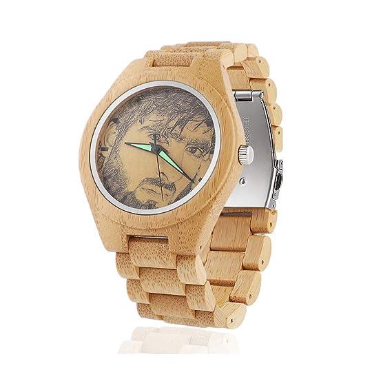 Cuarzo de Madera del Reloj de los Hombres Personalizados, Relojes Hechos a Mano de la Foto de la muñeca del Regalo de la Navidad: Amazon.es: Relojes