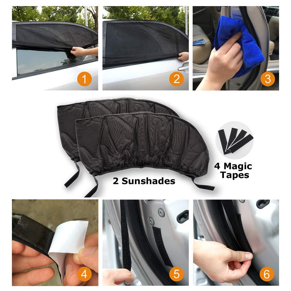 Blocks UV Rays Car Window Shades Car Mosquito Net Car Curtains Rear Side Window Sunshades 2 Pack 2 Pack UNIVERSAL Car Sun Shades Maximum Protect Your Baby Kids and Pets Fit for Most of Cars