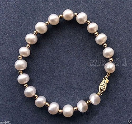 NATURAL 8-9MM FASHION SOUTH SEA GENUINE WHITE PEARL BRACELET 7.5''