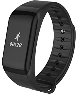 Fitness Tracker Watch,F1 Smart Bracelet Bluetooth 4.0 Heart Rate Monitor IP67 Waterproof Sleep Tracker