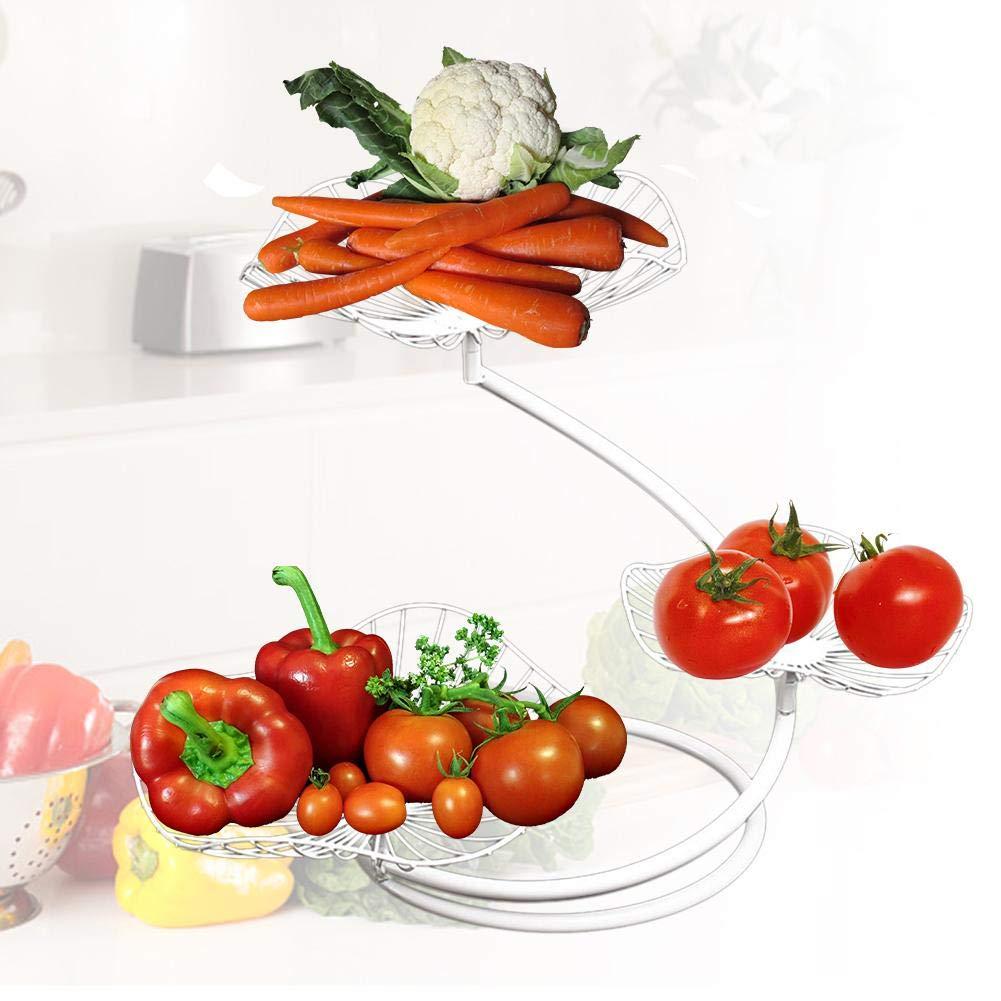 encimera de gran capacidad Cesta de frutas de metal Negro Blanco Loto Hoja Frutero Estilo Vintage Cocina moderna Soporte de exhibici/ón de almacenamiento de encimera Racks de frutas de 3 niveles