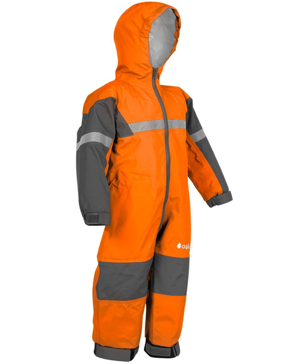 Oakiwear Kids One-Piece Waterproof Trail Rain Suit, Classic Orange, 2T Toddler