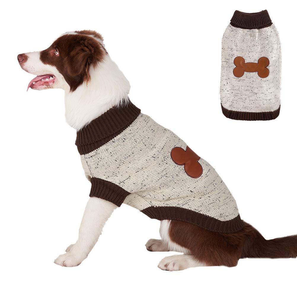 BINGPET Turtleneck Dog Sweater Brown Bone Pattern, Puppy Winter Warm Cloth for Small Medium Large Dogs by BINGPET
