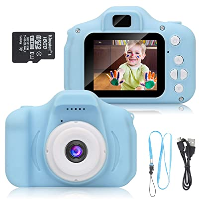 DDGG Kids Digital Camera, 1080P FHD Digital Video Camera for Kids with 2 Inch IPS Screen and 16GB SD Card, Rechargeable Camera for 3-10 Years Boys Girls(Blue): Toys & Games